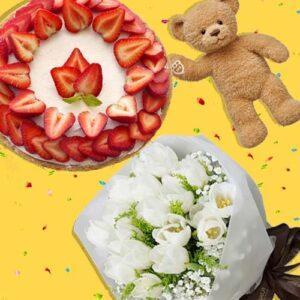 White sweet bear - Toko Bunga Prestisa Jakarta