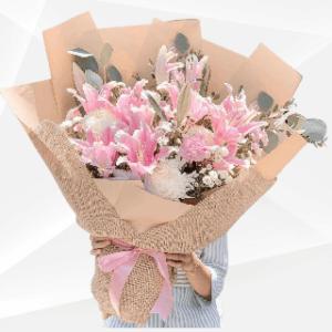 bunga buket lily pink