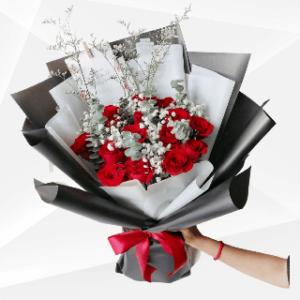 bunga buket mawar merah